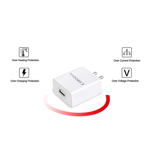 Corseca FLASH-24 2.4A 12W USB Wall Charger for Apple or Android Mobile Phones (White)
