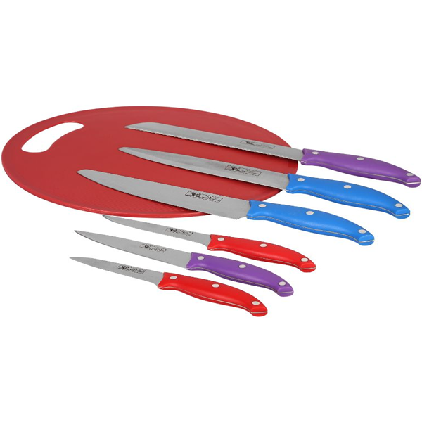 Cosmosgalaxy I3396-A 7 Pcs Kitchen Knife Set With Chopping Board