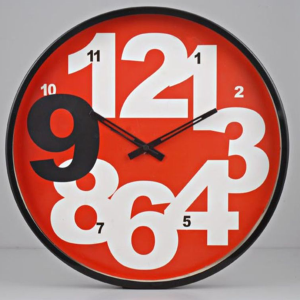 Cosmosgalaxy I2284 Round Designer Stainless Steel and Glass Red Optra Wall Clock