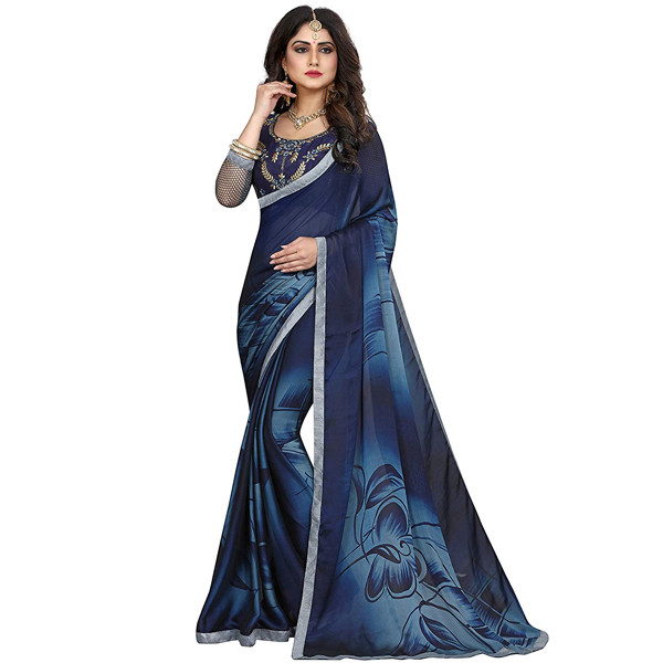Gaurangi Creation (BIHU 1109) Women's Printed Satin Chiffon Festive Wear Saree (Blue)