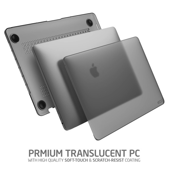 "i-Blason (B01M8O9OSE) Halo Series Designed for MacBook Pro 15"" Case (2019 2018 2017 2016 Release A1990/A1707), Slim Rubberized Cover with TPU Bumper for Macbook Pro 15"" with Touch Bar and Touch ID (Frost/Black)"