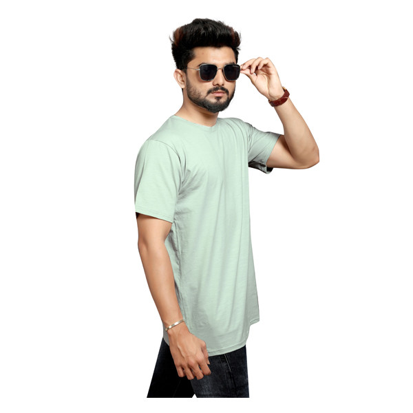 Less Q (80LESS06) Branded Slub Lycra Mens T Shirt (Greenish White)