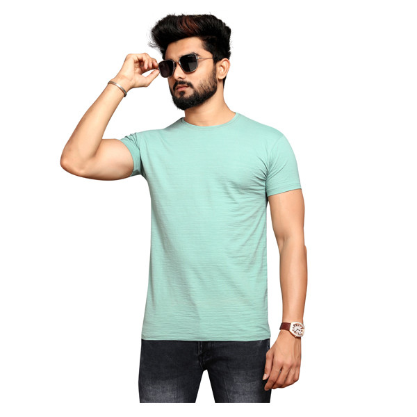 Less Q Branded Crush Lycra Mens T Shirt ( Very Pale Green-Cyan)
