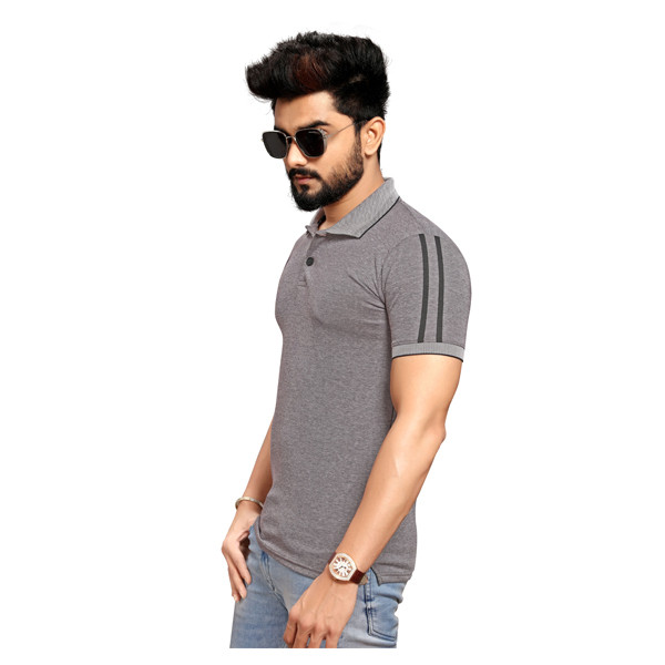 Less Q Branded Creta Cotton Matty With Collar Men's T Shirt ( Dark Pinkish Gray)