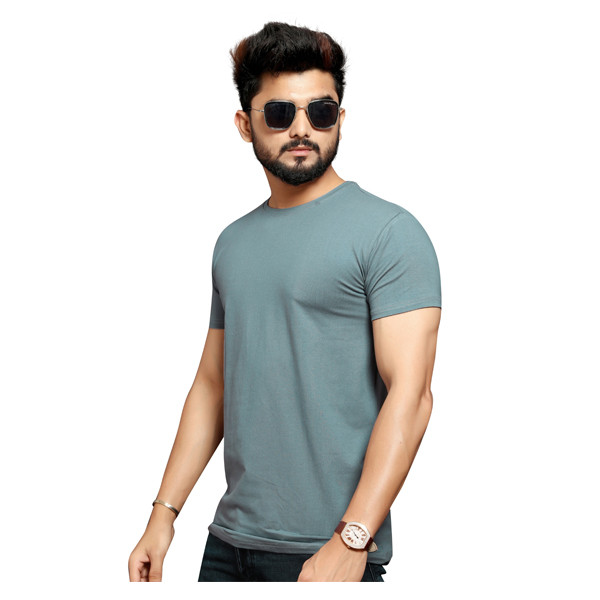 Less Q Branded Cotton Lycra Mens T Shirt ( Cyanish Gray)