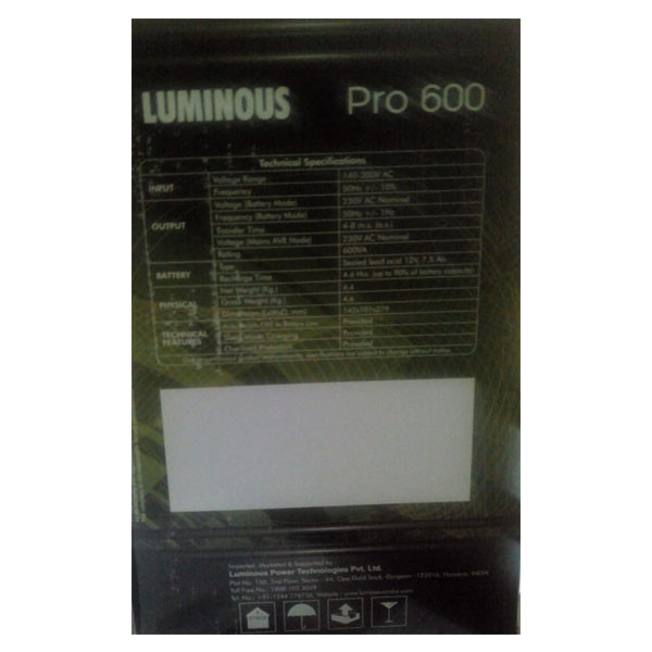 Luminous PRO 600VA UPS (Black)