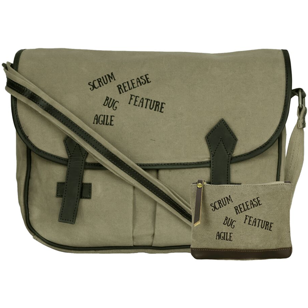 NEUDIS - LAPTOP2AGILE, Genuine Leather & Recycled Stone Washed Canvas Spacious Laptop Messanger Bag - Agile - Green