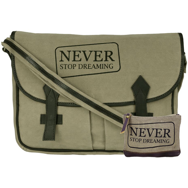 NEUDIS - LAPTOP2DREAMING, Genuine Leather & Recycled Stone Washed Canvas Spacious Laptop Messanger Bag - Never Stop Dreaming - Green