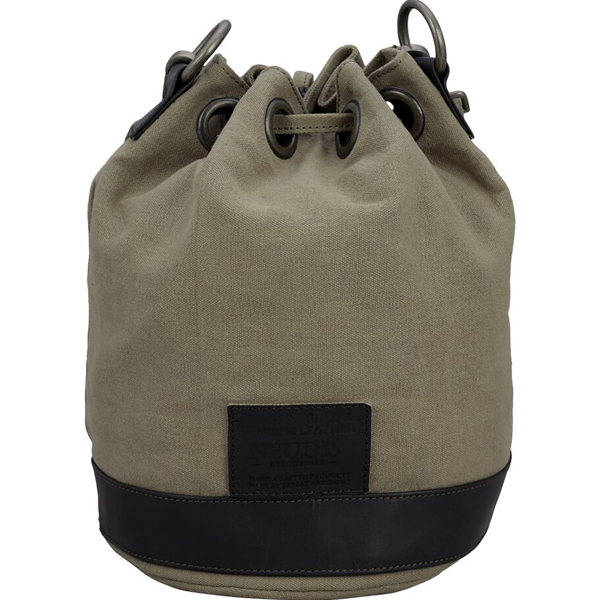 NEUDIS - BUCKETSCRUM, Genuine Leather & Recycled Stone Washed Canvas Casual Tassel Bucket Bag - Scrum Agile - Green