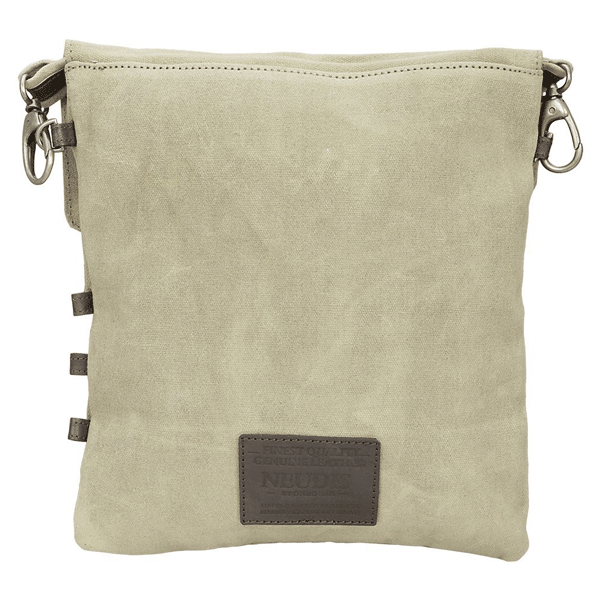 NEUDIS Genuine Leather & Recycled Stone Washed Canvas Travel Sling / Cross Body Bag for iPad & Tablet - Compass - Beige