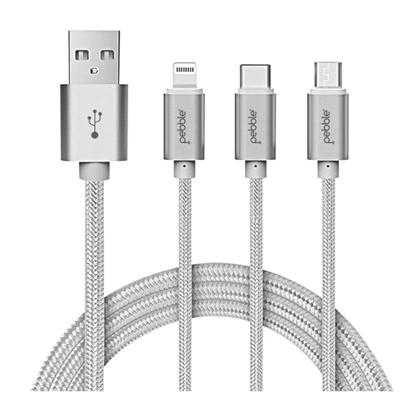 Pebble Premium 3 in 1 Nylon Braided Charging Cable with Type C Lightning & Micro USB (Silver)