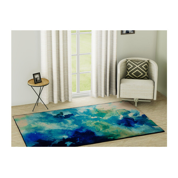 Rugsmith (RS000054) RUGS & CARPETS Glossy Blue Color Premium Qualty MODERN Pattern Polyamide Nylon LUMINOUS RUG Area Rug (Carpet Size 4X6)