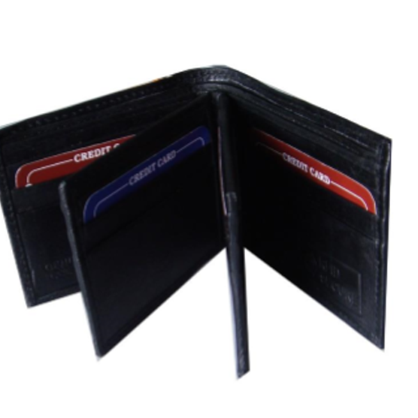 Saw - 1020, 4-Fold Wallet Leather, Black