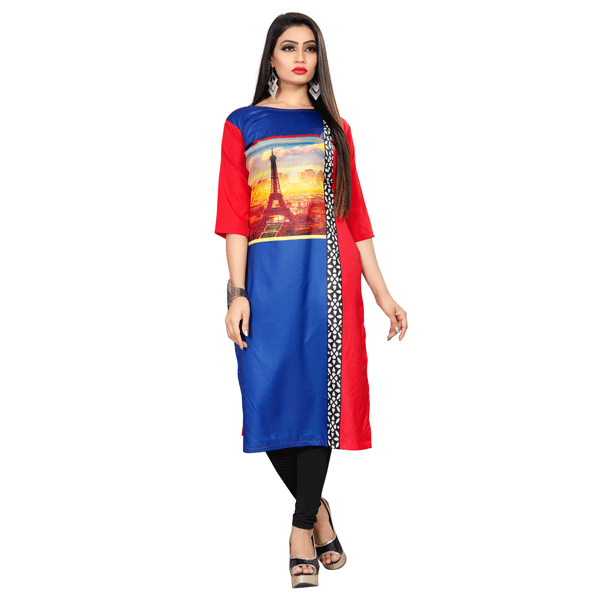 Textile Fab TF-11 Women's Crepe Digital Printed Straight Cut Kurti