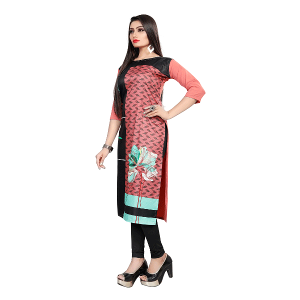Textile Fab TF-12 Women's Crepe Printed Straight Cut Kurti