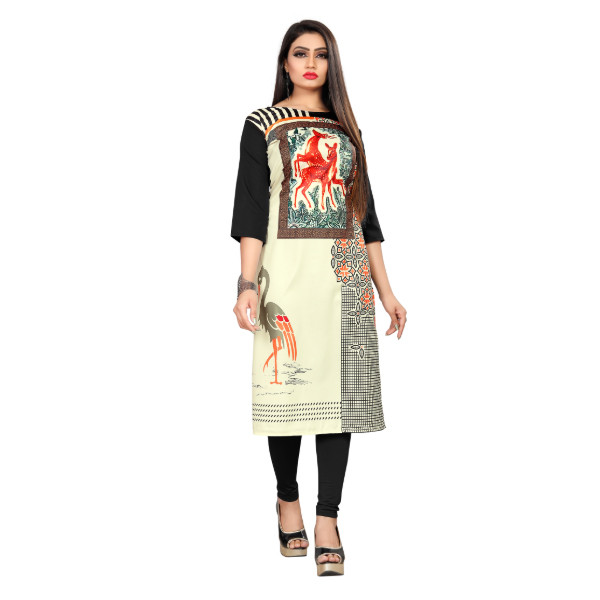 Textile Fab TF-19 Women's Crepe Digital Printed Straight Cut Kurti