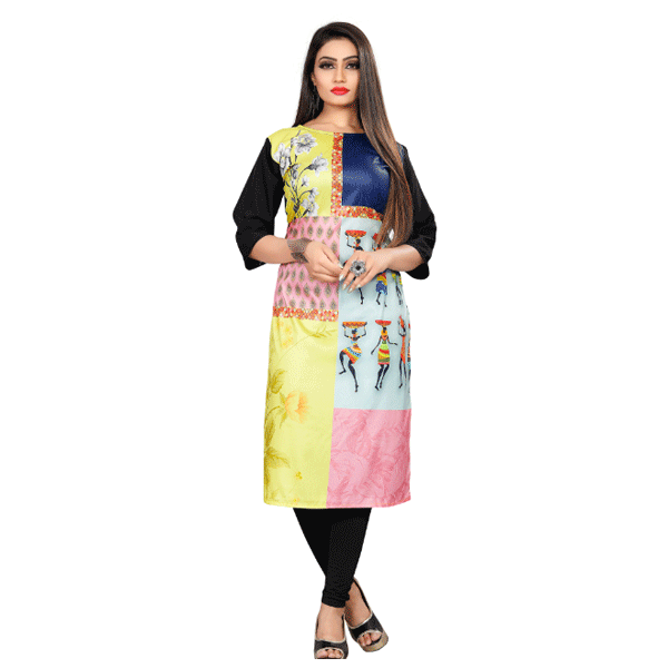 Textile Fab TF-14 Women's Crepe Digital Printed Straight Cut Kurti