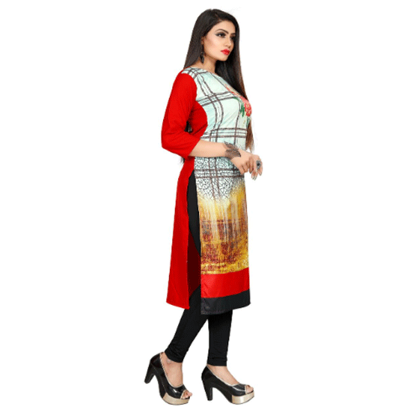 Textile Fab TF-15 Women's Crepe Printed Straight Cut Kurti