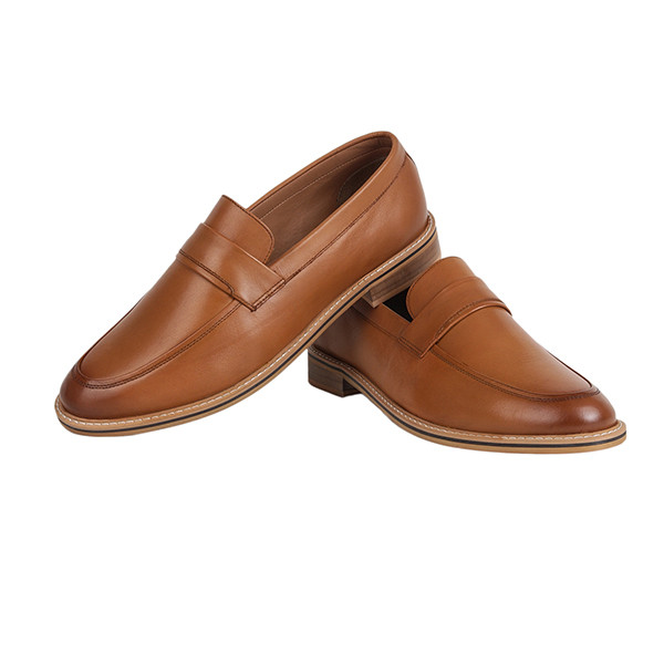 The Leather Box (9878) Calf Leather the Noble Tan Loafer Calf Leather Mens Shoes
